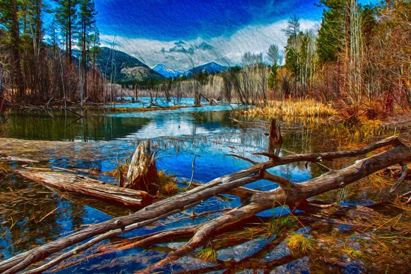 Pondering A Mountain Landscape Painting Omaste Witkowski owFotoGrafik.com