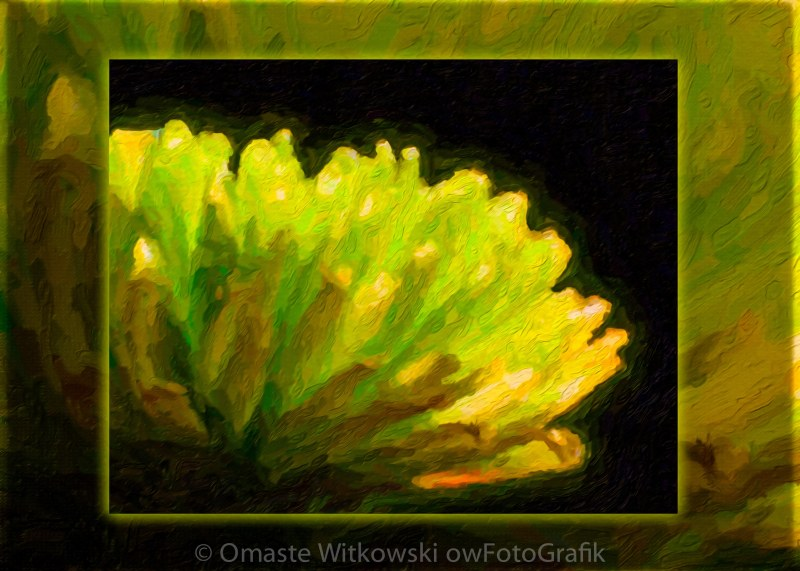 Glowing Green Flower Abstract Painting Omaste Witkowski owFotoGrafik.com