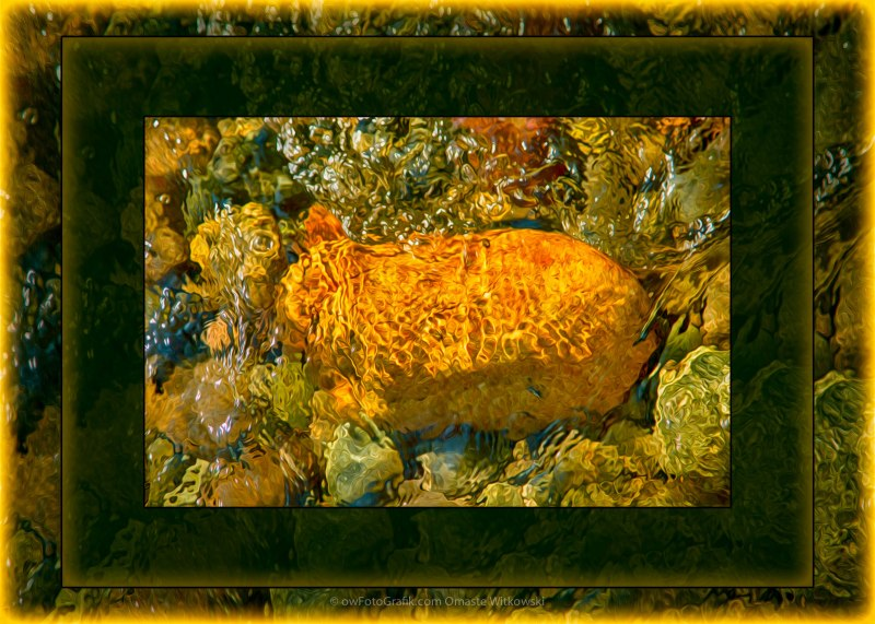 Golden Surprises In the Methow River Abstract Painting