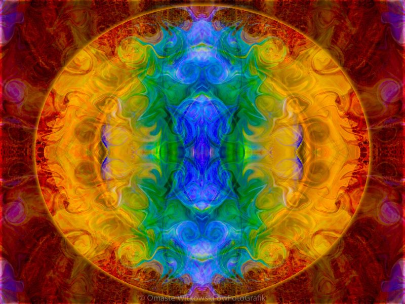 A Rainbow of Chaos Abstract Mandala Artwork by Omaste Witkowski owFotografik.com