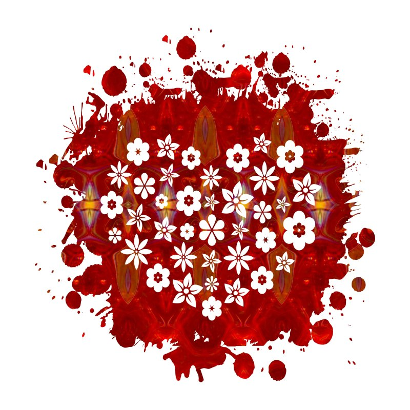 Red Heart Of Flowers Fantasy Designs Abstract Holiday Art by Omaste Witkowski owFotoGrafik.com